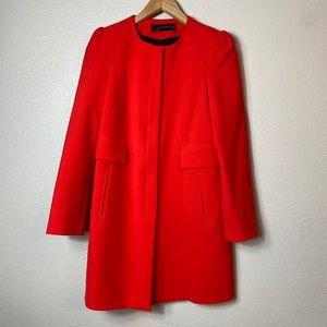 ZARA red long zip up jacket coat medium 2-4